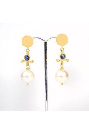 Yunion T Pearl and Semi-Precious Stone Drop Earrings (22ct Plate)
