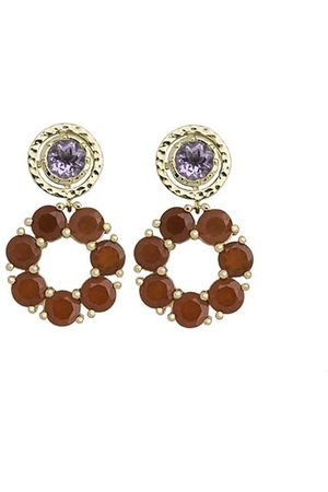 Coco & Kinney Red Onyx & Amethyst Small Bryony in Gold