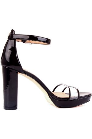 Guess WOMEN'S FL5OMEPAF03BLACK PATENT LEATHER SANDALS