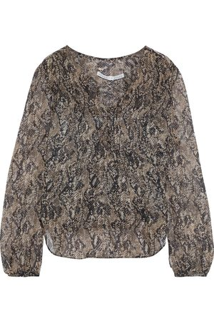 VERONICA BEARD Women Blouses - Woman Lowell Pintucked Snake-print Silk-chiffon Blouse Animal Print Size 10