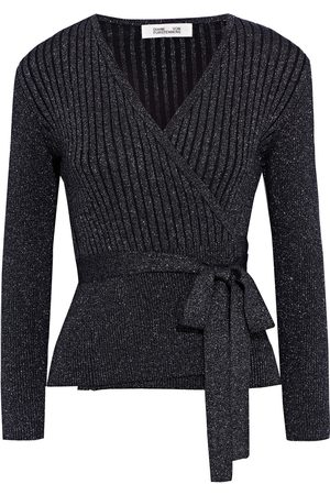 Diane von Furstenberg Woman Bonnie Ribbed Metallic Merino Wool-blend Wrap Cardigan Size L