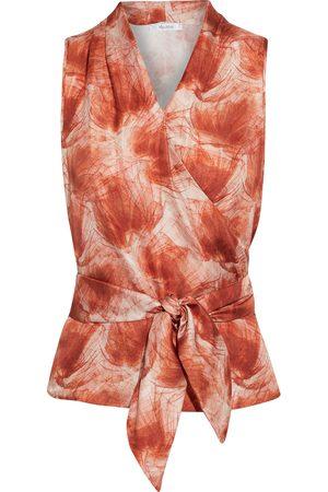 Max Mara Women Tank Tops - Woman Pilly Printed Silk-twill Wrap Top Brick Size 34