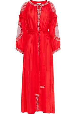 Melissa Odabash Women Beach Dresses - Woman Iyla Pompom-trimmed Embroidered Voile Kaftan Size M