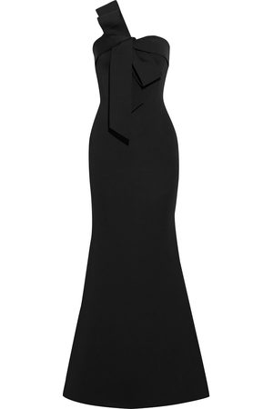 Badgley Mischka Woman Strapless Bow-embellished Scuba Gown Size 10