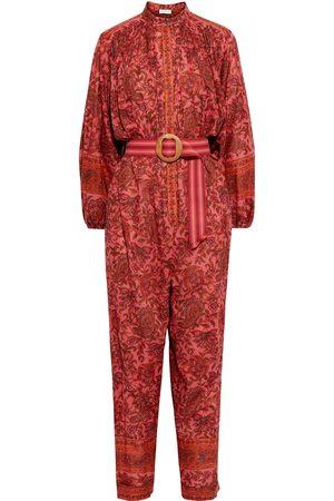 ZIMMERMANN Women Jumpsuits - Woman Edie Belted Printed Cotton-voile Jumpsuit Papaya Size 0
