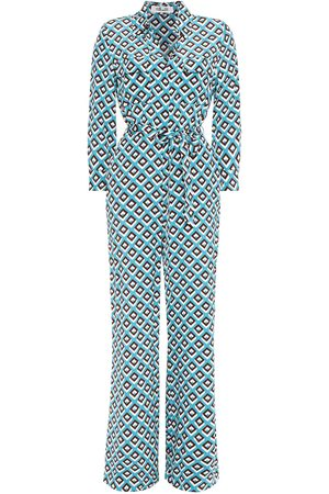 Diane von Furstenberg Woman Sandy Belted Printed Silk Crepe De Chine Jumpsuit Turquoise Size 8