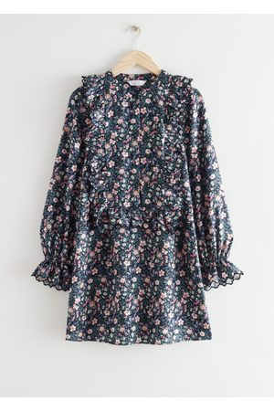 & OTHER STORIES Ruffled Embroidered A-Line Mini Dress