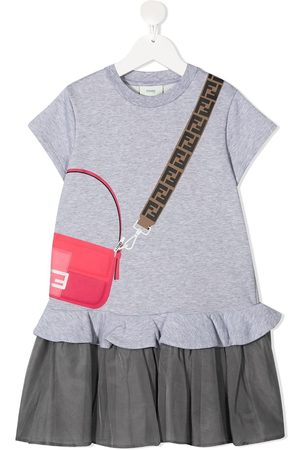 Fendi Kids Bag-print short sleeved dress - Grey