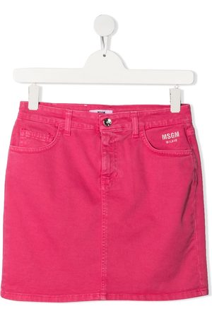 Msgm TEEN embroidered-logo denim skirt