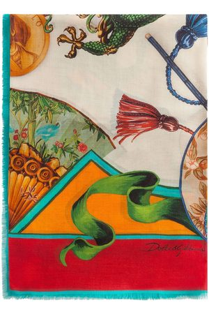 Dolce & Gabbana Silk Road-print silk-twill scarf - Neutrals