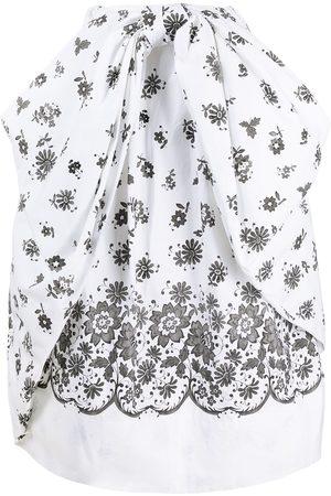 Simone Rocha Floral-print ruched midi skirt