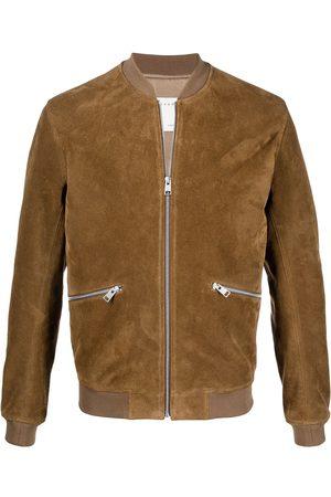 Sandro Paris Zipped leather bomber jacket - Neutrals