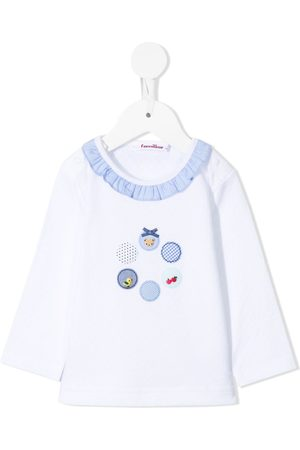 Familiar T-shirts - Ruffle-neck cotton t-shirt