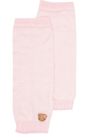 Familiar Girls Stockings - Teddy bear-motif knitted leg warmers