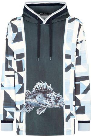 Dolce & Gabbana Men Hoodies - Majolica-print hoodie - HB1TU PONTI FDO.BLU SCURO