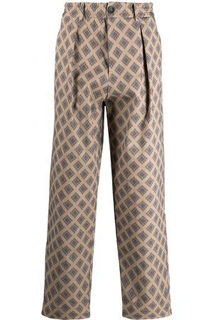 PIERRE-LOUIS MASCIA Straight Leg Pants - Checked-pattern cotton trousers - Neutrals