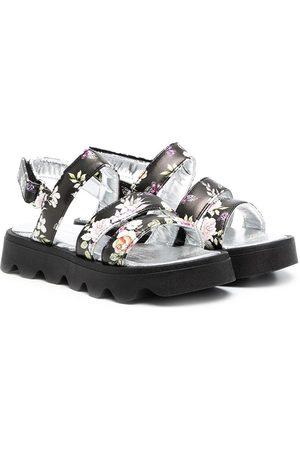 Monnalisa Girls Sandals - Floral-print strap sandals