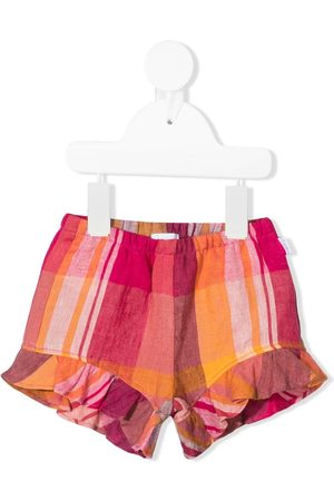 Il Gufo Check ruffle-hem shorts