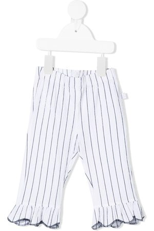 Il Gufo Striped ruffle-hem trousers