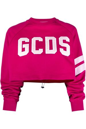 Gcds Embroidered-logo cropped cotton sweater