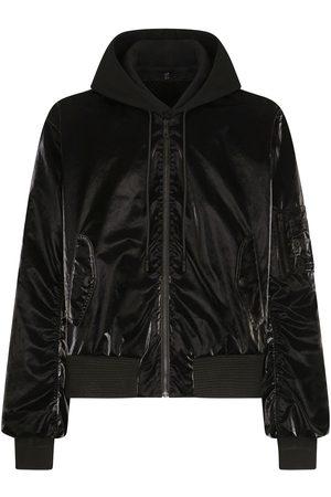 Dolce & Gabbana Varnished hooded bomber jacket