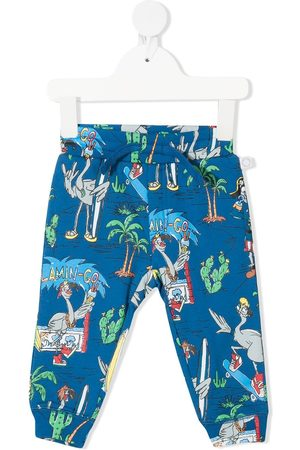 Stella McCartney Kids Flamingo Party organic-cotton trousers