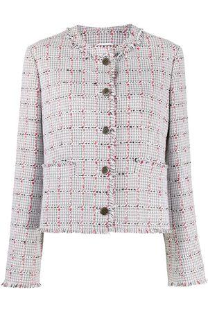 Thom Browne Women Blazers - Windowpane check tweed blazer - Grey