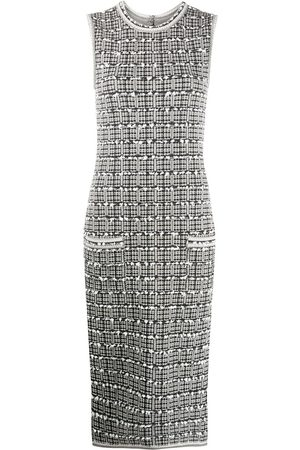 Thom Browne Women Pencil Dresses - Windowpane jacquard sleeveless pencil dress - Grey