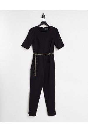 ASOS DESIGN Short sleeve jumpsuit with gold chain in