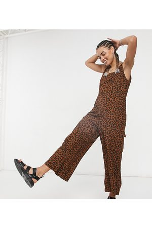 Native Youth Tie shoulder oversized overalls jumpsuit in leopard