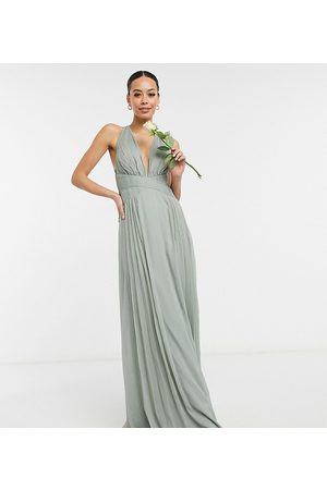 ASOS Tall ASOS DESIGN Tall Bridesmaid ruched bodice drape maxi dress with wrap waist in olive