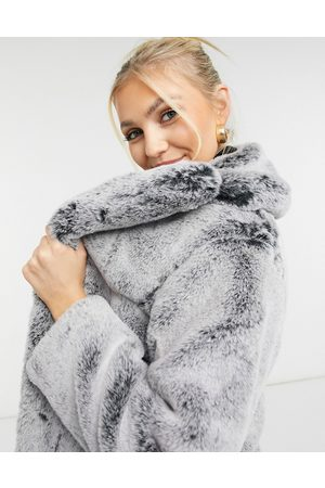 Topshop Two tone faux fur jacket in -Grey