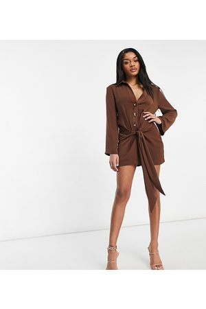 ASOS Petite ASOS DESIGN Petite plunge mini drape tie front shirt dress in chocolate