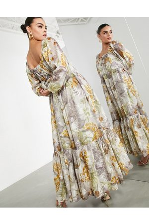 ASOS Oversized maxi dress in floral satin burnout with square neck-Multi