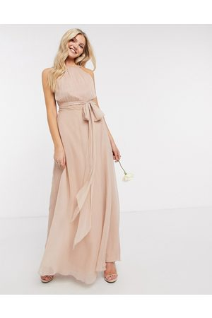 ASOS DESIGN Bridesmaid ruched pinny maxi dress with tie waist detail in blush
