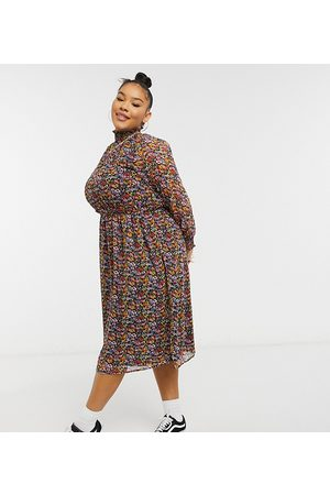 Yours Shirred collar dress in multi floral