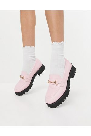 Raid Empire chunky loafers with gold snaffle in pastel
