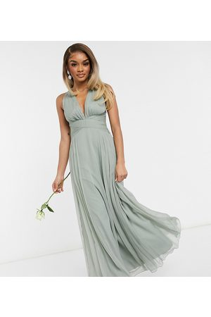 ASOS Petite ASOS DESIGN Petite Bridesmaid ruched bodice drape maxi dress with wrap waist in olive