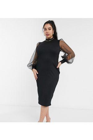 ASOS Curve ASOS DESIGN Curve organza dot ribbed high neck midi dress in