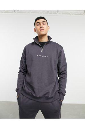 Mennace Essential regular half zip sweatshirt in -Grey