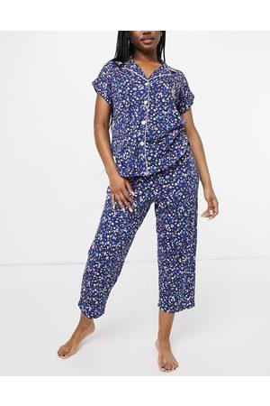 LAUREN by RALPH LAUREN Notch collar capri pajamas in navy print
