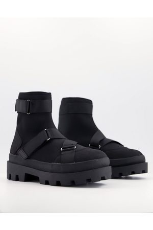 ASOS DESIGN Chelsea boots in scuba with strapping and chunky sole