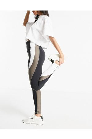 Reebok Training Lux high waist color block leggings in and taupe