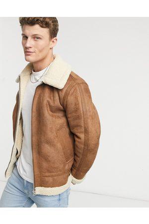 Topman Men Fleece Jackets - Tape teddy jacket in tan