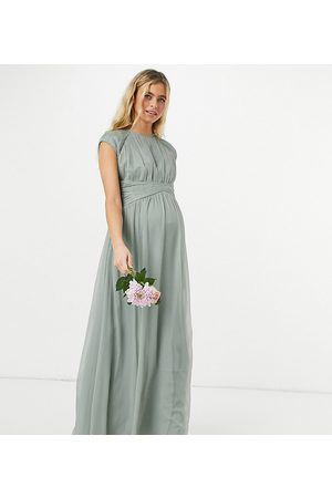 ASOS Maternity ASOS DESIGN Maternity Bridesmaid ruched bodice maxi dress with cap sleeve detail in olive