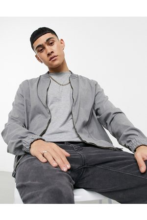 ASOS DESIGN Coordinating smart bomber jacket in charcoal-Grey