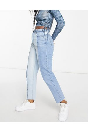Stradivarius Straight leg contrast two tone jeans with raw hem in blue-Blues