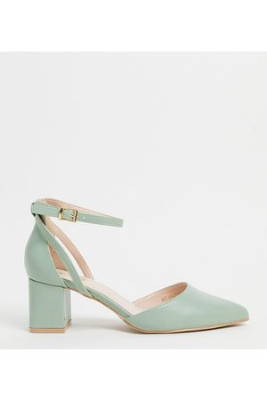 Raid Wide Fit Hazy mid heeled shoes in sage