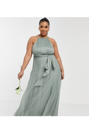ASOS Curve ASOS DESIGN Curve Bridesmaid ruched pinny maxi dress with tie waist detail in Olive