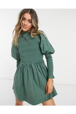 ASOS DESIGN Mini skater dress with shirred bodice and cuffs in khaki